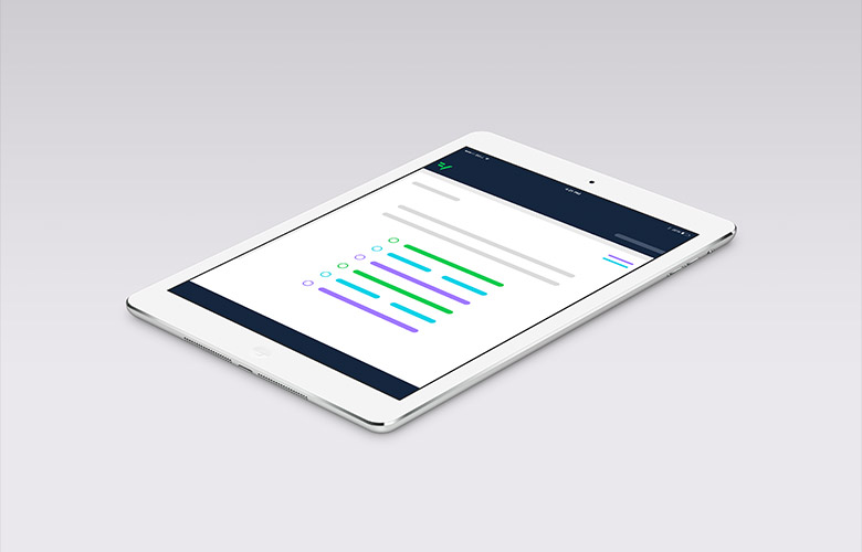 Mobile survey design optimized for display on a tablet device.