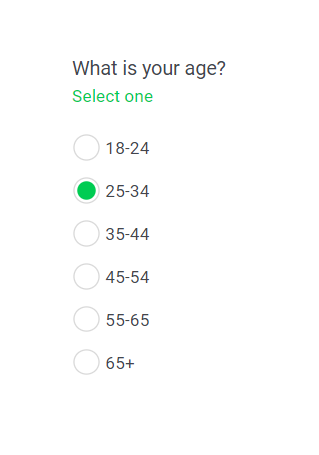 Radio button question type in an online survey.