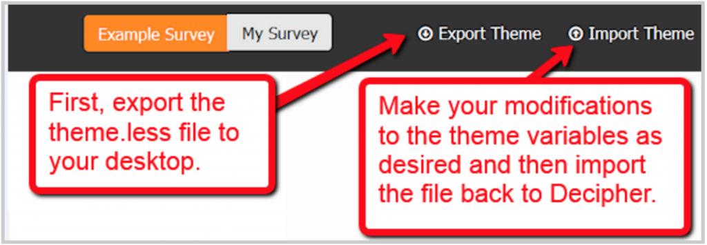 Export and import survey themes.