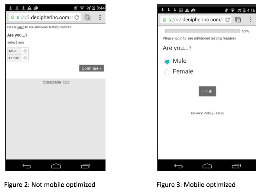 Survey screenshots showing the difference between a survey optimized for mobile interfaces and one that is not.