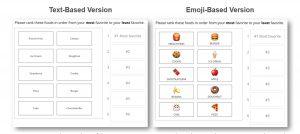 Survey using a text-based version versus an emoji-based version.