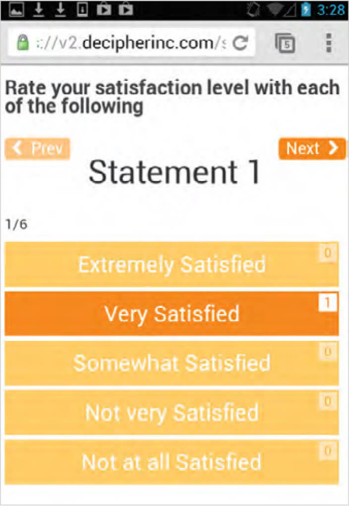 An example of card sort questions in smartphone surveys stacked vertically to be more user-friendly.