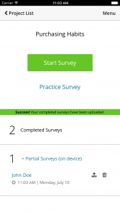 Decipher CAPI offline survey app screen showing the start of an offline survey.