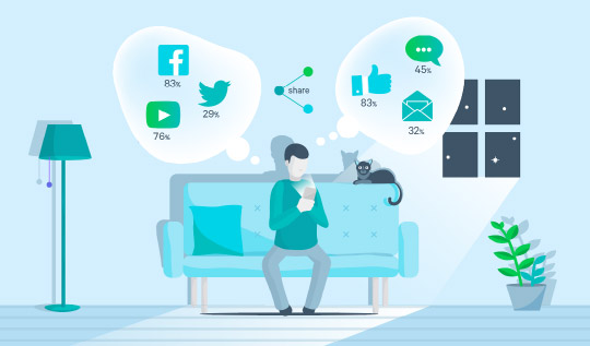 Illustration depicting video sharing from a mobile device in the home.