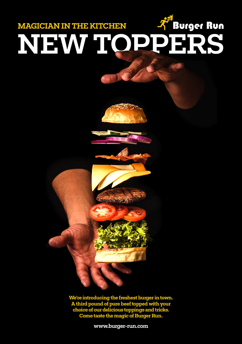 Asking the right copy testing questions can help gather preliminary feedback on advertising concepts like this hamburger advertisement for a restaurant.