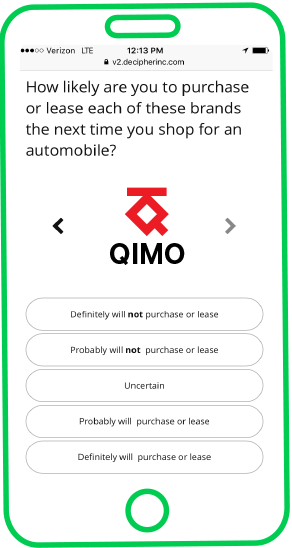 Creating survey questions: An example of an interactive question in a mobile survey.