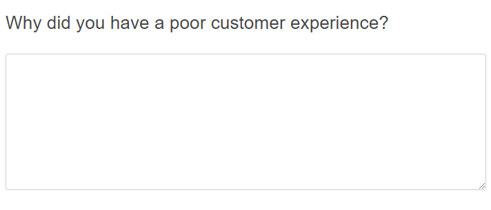 Open end question asking about the customer experience