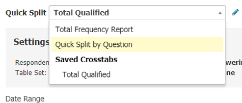 Dropdown menu shows options for segmenting your data including a quick split by question.
