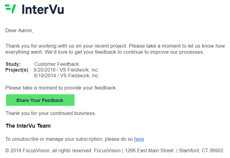 An example of a well-crafted invite which can improve online survey response rate.