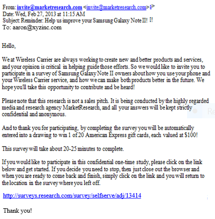 An example of a poor email invite which can impact email survey response rate.