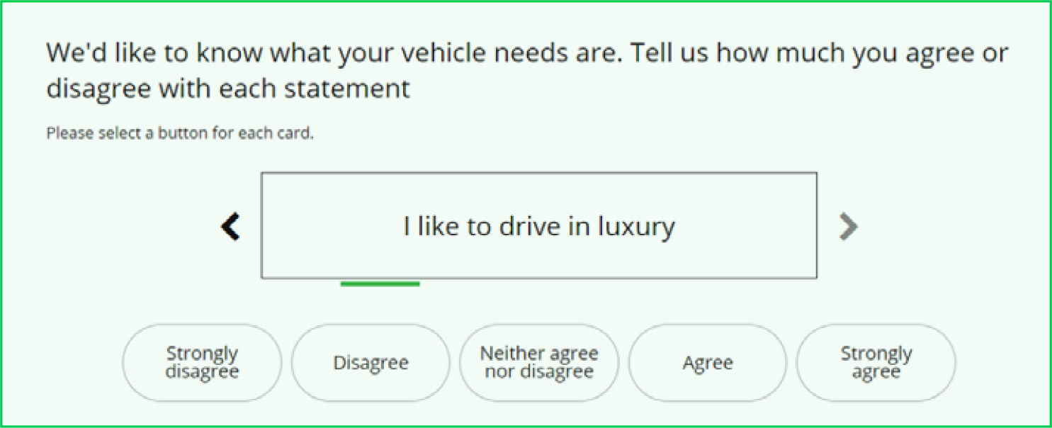 Card sort question in a survey.