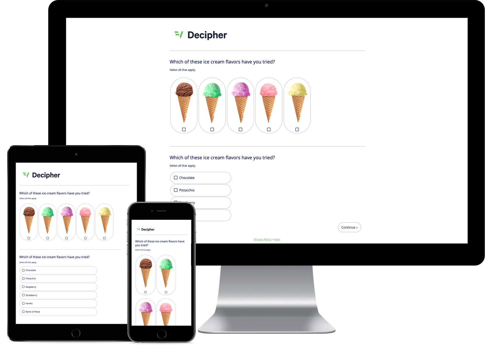 A survey created using Decipher's survey platform asking participants to identify which ice cream flavors they already tried.