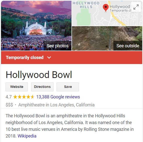 Hollywood Bowl Closed update